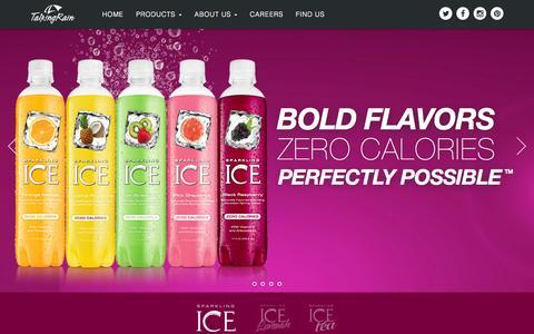 Screenshot of Home Page talkingrain.com - Talking Rain - Bold Flavors, Zero Calories, Perfectly PossibleŞ - captured Nov. 11, 2015