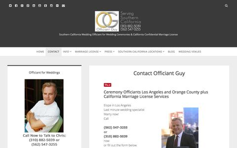 Screenshot of Contact Page officiantguy.com - Ceremony Officiants | California Officiant for Weddings - captured Feb. 22, 2016
