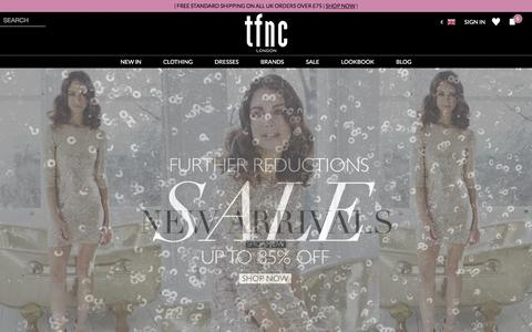 Screenshot of Home Page tfnclondon.com - Party Dresses - Fashion Online - Dresses Online - TFNC London UK - captured Feb. 2, 2016
