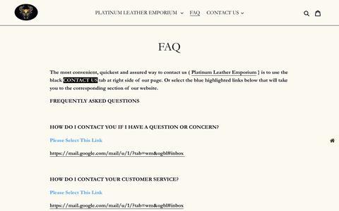 Screenshot of FAQ Page platinumleatheremporium.com - FAQ - captured Jan. 31, 2020