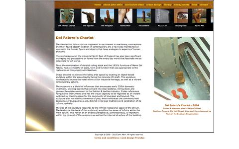 Screenshot of Case Studies Page johnatkin.net - Sculpture Beethan Towers Liverpool | Dal Fabrro's Chariot by John Atkin | Commissioned Plan Art for Beetham - captured Sept. 30, 2014