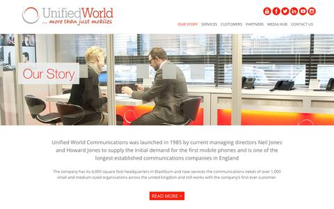Screenshot of About Page unifiedworld.co.uk - Our Story - A Business Communications Company | Unified World - captured Feb. 1, 2018