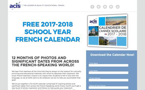Screenshot of Landing Page acis.com - 2017-2018 French Cultural Calendar - captured April 9, 2018