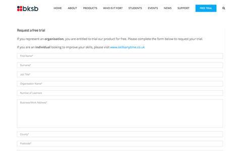 Screenshot of Trial Page bksb.co.uk - Free Trial - bksb - captured Sept. 25, 2018