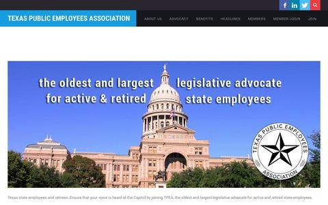 Screenshot of Home Page tpea.org - Texas Public Employees Association - Texas Public Employees Association - captured Feb. 25, 2016