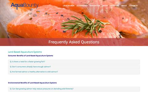 Screenshot of FAQ Page aquabounty.com - Frequently Asked Questions - AquaBounty Technologies - captured May 9, 2017