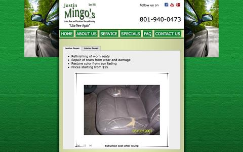 Screenshot of Services Page mingosauto.com - Justin specializes in leather, cloth, and vinyl repair, now services Davis County & Weber County in Northern Utah - captured Oct. 6, 2014