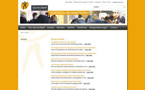 Screenshot of Press Page quantanpm.nl - Actueel :  Quanta NpM - captured Jan. 30, 2016