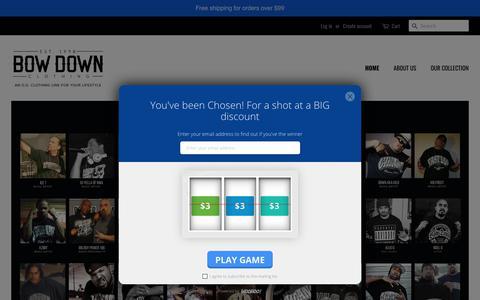 Screenshot of Home Page bowdownclothing.com - Bow Down Clothing - Streetwear Clothing – BOW DOWN CLOTHING - captured Nov. 15, 2018