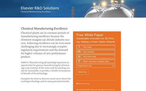 Screenshot of Landing Page elsevier.com - Chemical Manufacturing Excellence - captured May 23, 2016