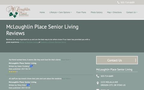 Screenshot of Testimonials Page milestoneretirement.com - Senior Living Resources | McLoughlin Place Senior Living - captured Feb. 3, 2018
