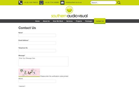 Screenshot of Contact Page southern-av.co.uk - Contact Us | Southern Audio Visual - captured Nov. 4, 2014