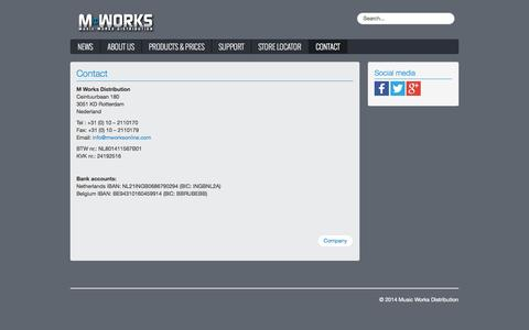 Screenshot of Contact Page mworksonline.com - Music Works Distribution - Contact - captured Oct. 3, 2014