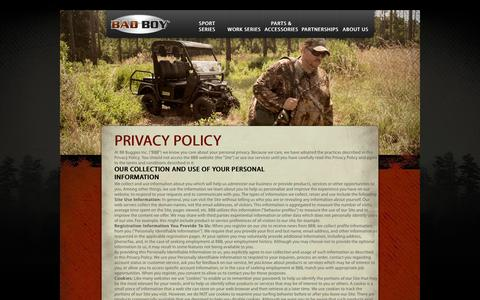 Screenshot of Privacy Page badboybuggies.com - Privacy Policy - captured Feb. 7, 2016
