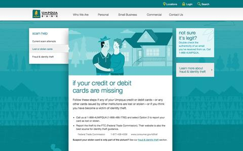 Umpqua Bank missing credit or debit card information