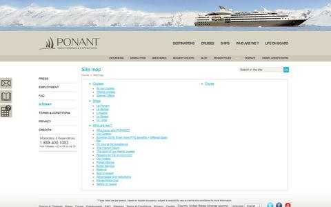 Screenshot of Site Map Page ponant.com - Sitemap / Home - PONANT - captured Nov. 2, 2014