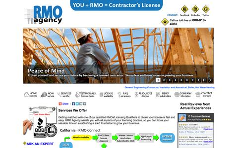 Screenshot of Services Page rmoagency.com - RMO Agency Services - Your direct link to getting your Contractor's License.  You + RMO = Contractor's License - captured Sept. 30, 2014