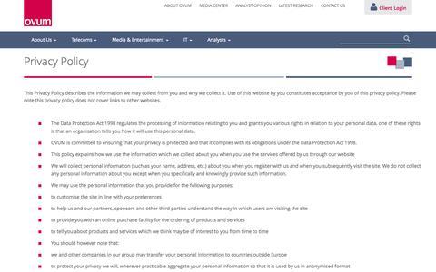 Screenshot of Privacy Page ovum.com - Ovum  » Privacy Policy - captured Sept. 19, 2014