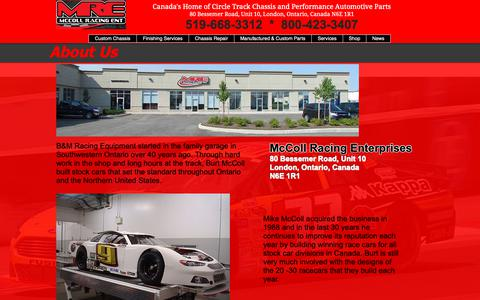 Screenshot of About Page mccollracing.ca - McColl Racing Chassis - Canadian Performance Parts | About Us - captured Oct. 22, 2018