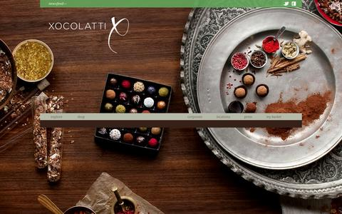 Screenshot of Home Page xocolatti.com - Xocolatti - The Finest Handcrafted Chocolates and Exotic Truffles - captured Oct. 7, 2014