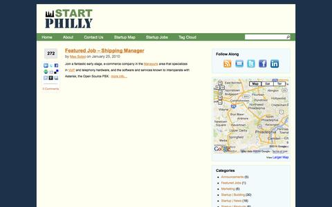 Screenshot of Jobs Page startphilly.com - Featured Jobs | Start Philly - Startups in and about Philadelphia - captured Oct. 29, 2014