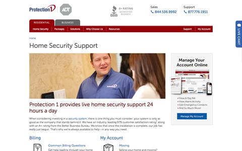 Screenshot of Support Page protection1.com - Home Security Support | Protection 1 - captured Jan. 16, 2018