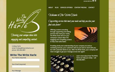 Screenshot of Home Page thewriteharle.com - TheWriteHarle | Turning your unique ideas into  engaging and compelling content. - captured Jan. 27, 2015