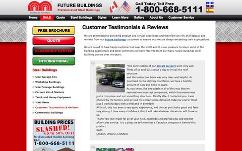 Screenshot of Testimonials Page futurebuildings.com - Future Buildings Testimonials and Reviews | Future Buildings - captured Sept. 23, 2014