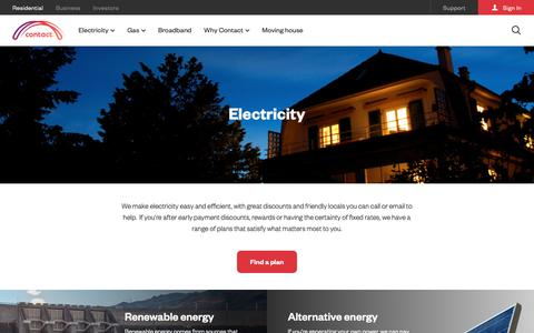 Screenshot of Products Page contact.co.nz - Contact Energy | Power Company | For Home | Electricity - captured Nov. 1, 2018