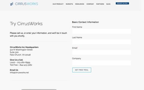 Screenshot of Trial Page cirrusworks.net - Cirrus Works | Trial - captured July 4, 2016