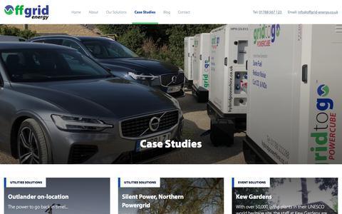Screenshot of Case Studies Page offgrid-energy.co.uk - Case Studies - Offgrid - captured Oct. 6, 2019