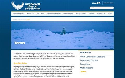 Screenshot of Terms Page uicalaska.com - Terms   Ukpeaġvik Iñupiat Corporation - captured Oct. 6, 2014