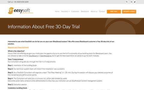 Screenshot of Trial Page eesysoft.com - Information About Free 30-Day Trial - EesySoft - captured Aug. 3, 2016