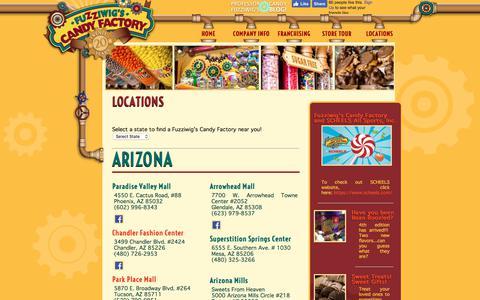 Screenshot of Locations Page fuzziwigscandyfactory.com - Find a Fuzziwigs' Store - Fuzziwig's Candy Factory - captured Sept. 4, 2018