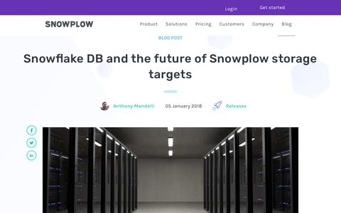 Screenshot of Blog snowplowanalytics.com - Snowflake DB and the future of Snowplow storage targets - captured Feb. 10, 2020