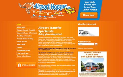 Screenshot of Home Page Terms Page airporthopper.ie - Airport Hopper - Bus from Tallaght, Clondalkin & Lucan to Dublin Airport - captured Sept. 30, 2014