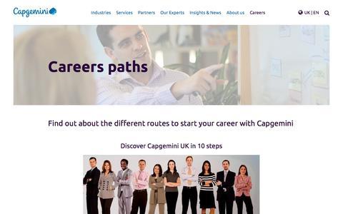 Screenshot of Jobs Page capgemini.com - Careers paths – Capgemini UK - captured Jan. 20, 2018