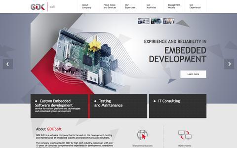 Screenshot of Home Page gdk-soft.com - GDK Soft - captured Sept. 26, 2014