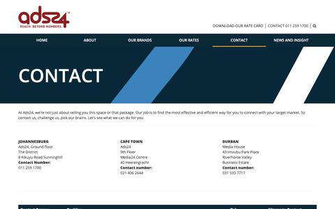 Screenshot of Contact Page ads24.co.za - Contact -  Ads24 - captured Oct. 21, 2018