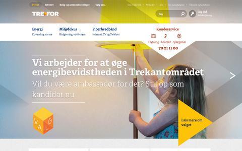Screenshot of Home Page trefor.dk - TREFOR - TREFOR - Privat Naturgas, Fastpris-el, vindstrøm, fiberbredbånd, mm. - captured Sept. 24, 2014