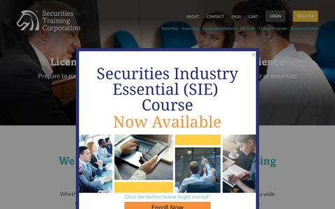 Screenshot of Home Page stcusa.com - Securities and Insurance Licensing Exam Preps - Securities Training Corporation - captured Oct. 18, 2018