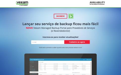 Screenshot of Landing Page veeam.com - Veeam Managed Backup Portal para Provedores de Serviços - captured March 22, 2016