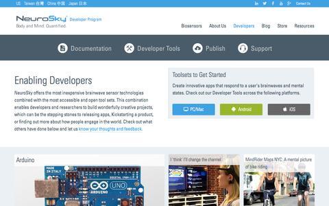 Screenshot of Developers Page neurosky.com - Developer Toolkit   Learn   Exchange   Publish   NeuroSky Developer Program - captured Nov. 10, 2015