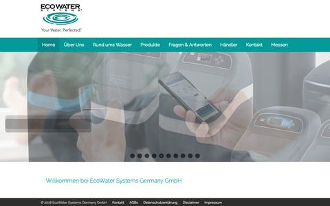 Screenshot of Home Page ecowater.de - EcoWater Systems Germany GmbH - captured Oct. 30, 2018