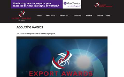 Screenshot of About Page ontarioexportawards.com - About the Awards - Ontario Export AwardsOntario Export Awards - captured March 27, 2016