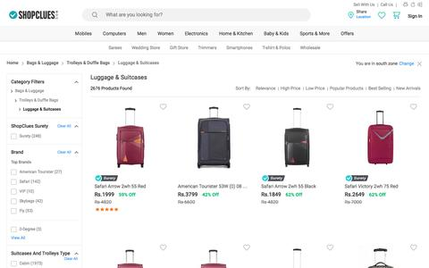 Screenshot of shopclues.com - Suitcases & Trolleys: Buy Suitcases & Trolleys Bags Online at Best Prices in India - captured March 11, 2017