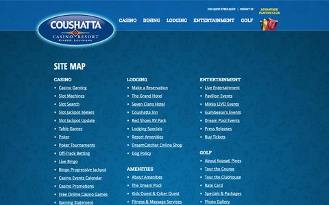 Screenshot of Site Map Page coushattacasinoresort.com - Site Map - Coushatta Casino Resort - captured July 16, 2016