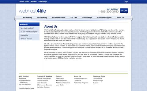 Screenshot of About Page webhost4life.com - About Us - captured Jan. 27, 2017