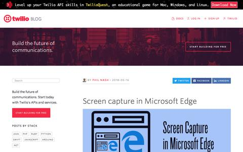Screenshot of Blog twilio.com - Screen capture in Microsoft Edge - Twilio - captured Nov. 28, 2019