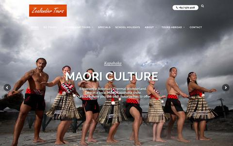 Screenshot of Home Page zealandiertours.com - New Zealand Tour Packages, Best NZ Tours - Guided Escorted Group - captured Oct. 20, 2018